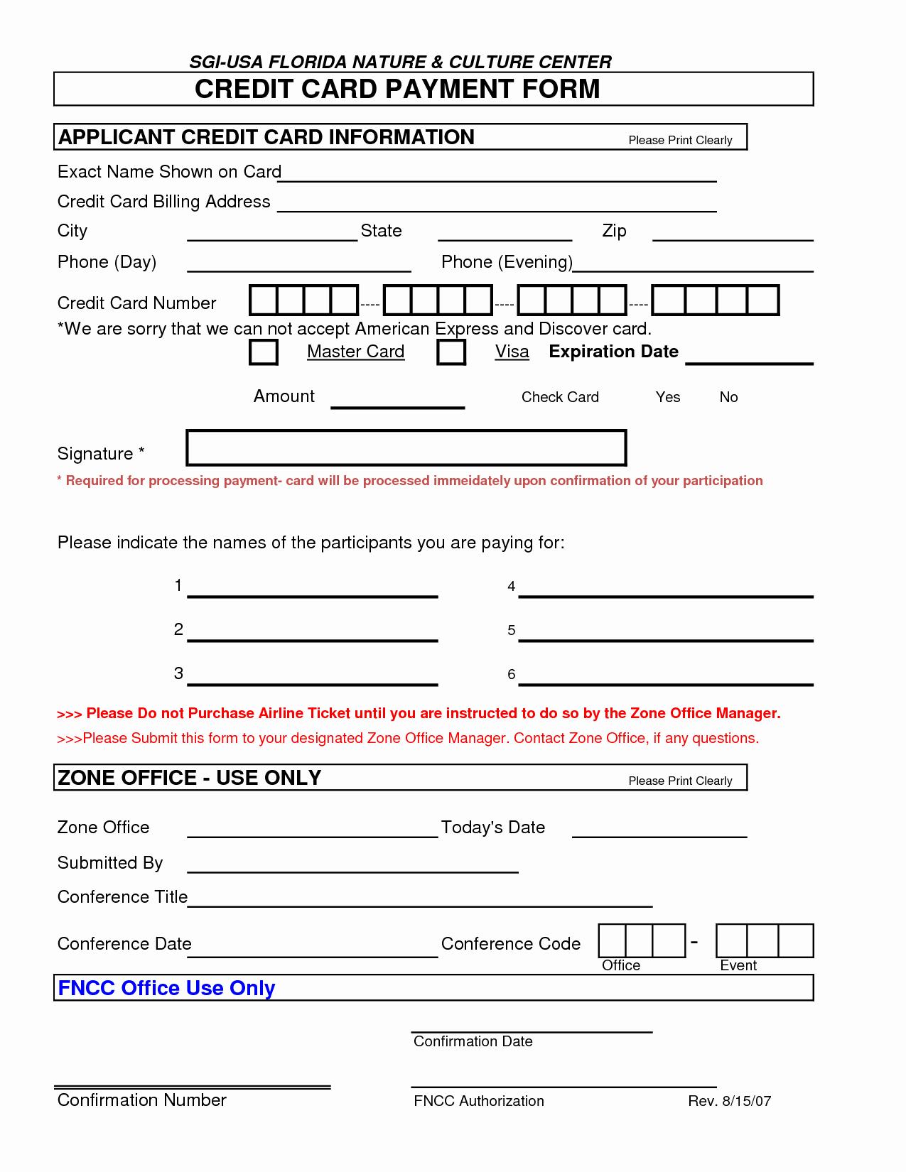 Credit Card Authorization form Word Unique 5 Credit Card Authorization form Templates formats