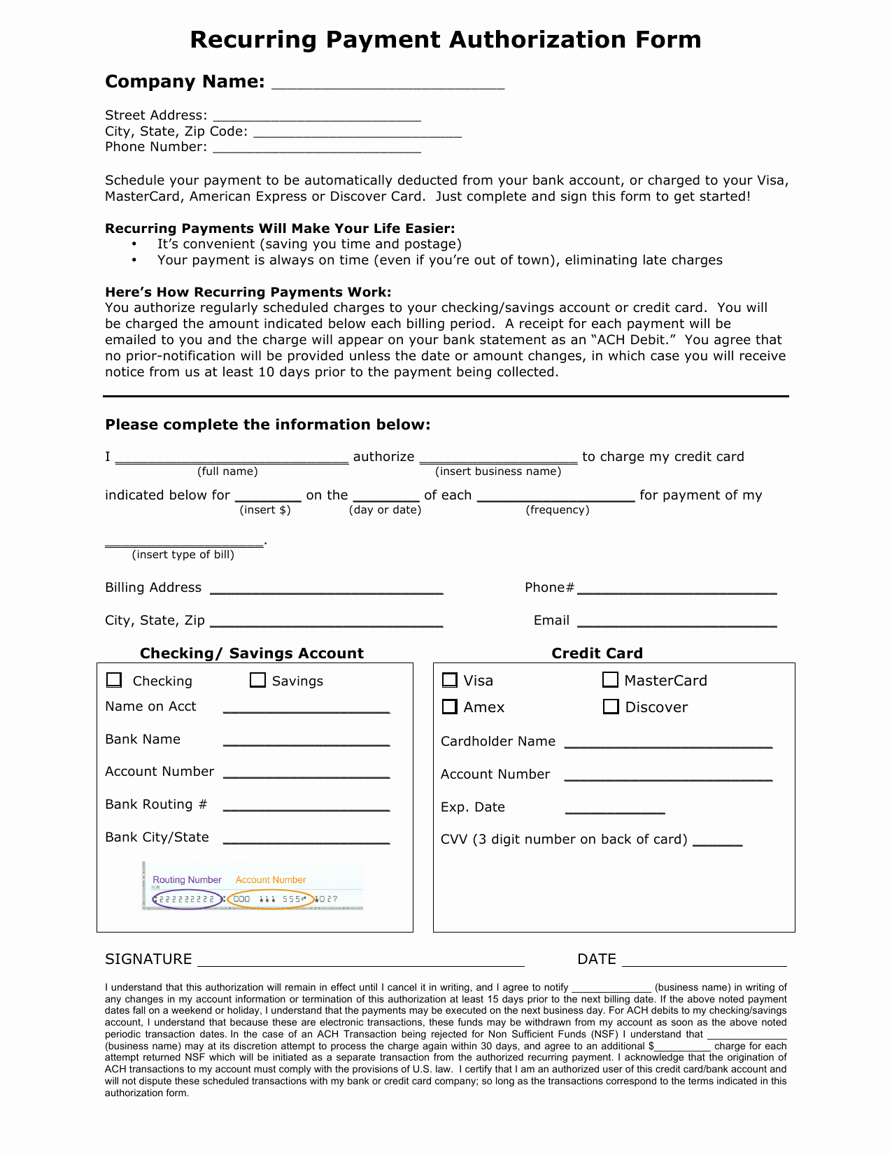 Credit Card Authorization form Word Unique Download Recurring Payment Authorization form Template