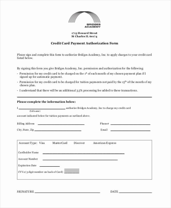 Credit Card Authorization form Word Unique Sample Authorization forms In Pdf 35 Free Documents In
