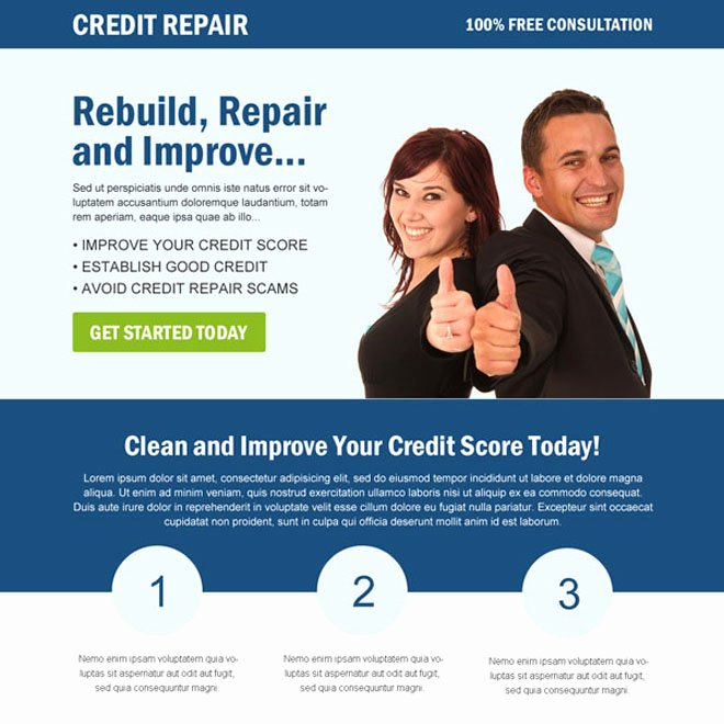 Credit Repair Flyer Template New Best Credit Repair Service Landing Page Design Templates