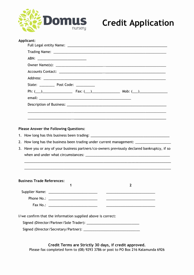 Credit Request form Awesome 6 Credit Application forms