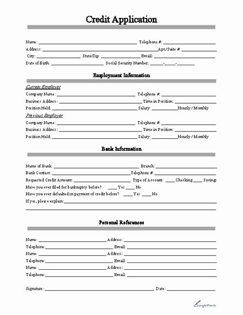 Credit Request form New Credit Application Business forms
