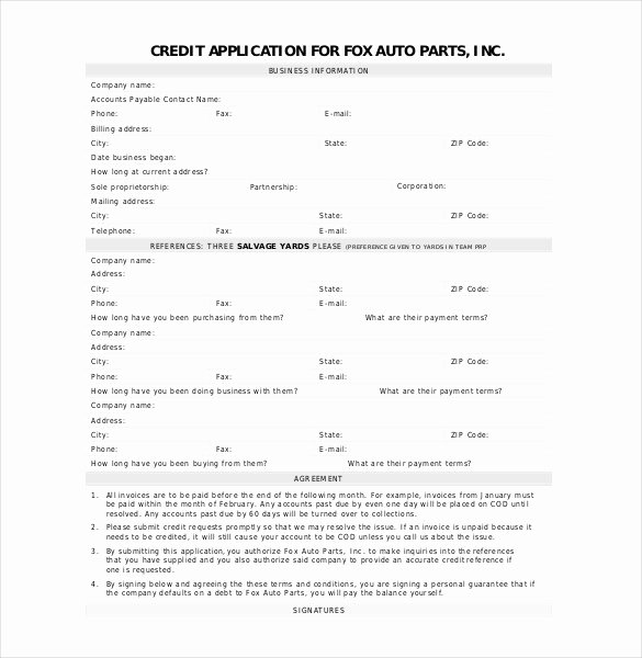 Credit Request form New Credit Application Template 33 Examples In Pdf Word