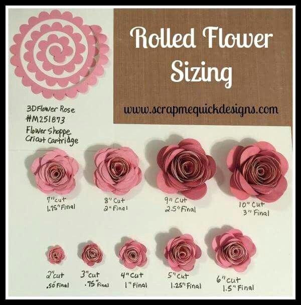 Cricut Paper Roses Unique Rolled Paper Flower Sizing Chart Cricut Paper Flowers