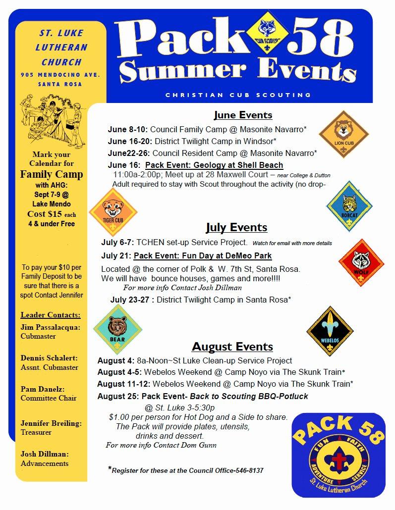 Cub Scout Calendar Template Elegant Cub Scouts Pack 58