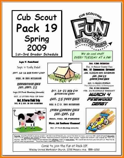 Cub Scout Calendar Template Inspirational Flyer Example