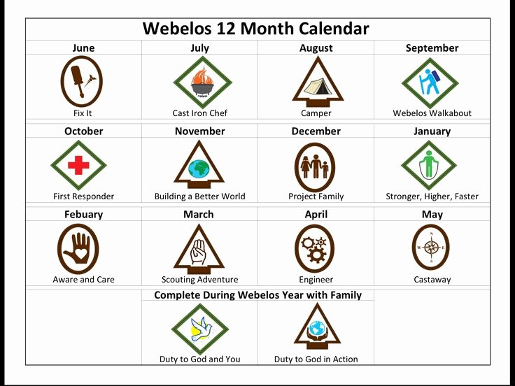 Cub Scout Calendar Template Luxury New Cub Scouts 12 Month Calendar We Created for Our Lds