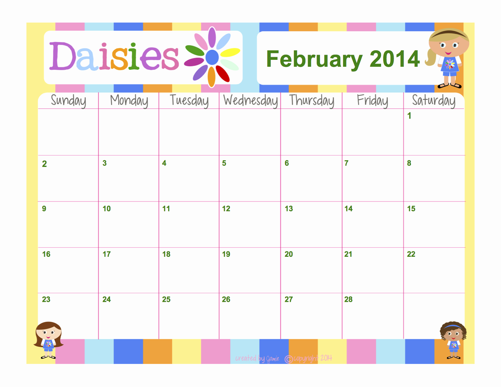 Cub Scout Calendar Template New Girl Scouts Daisies Free Calendar Word format