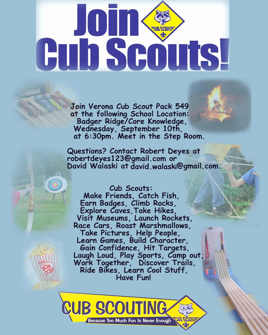 Cub Scout Flyer Template Beautiful Cub Scout Pack 549 Verona Wi September 2015