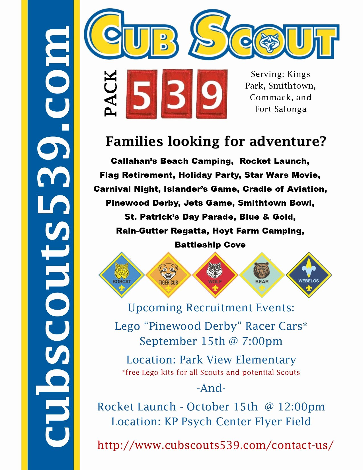 Cub Scout Flyer Template Elegant Back to School Night Pack 539 Recruitment September 14th