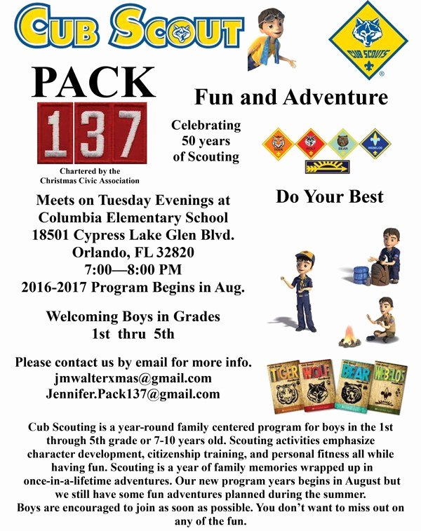 Cub Scout Flyer Template Elegant Cub Scout Pack 137 – Sponsored by Christmas Civic