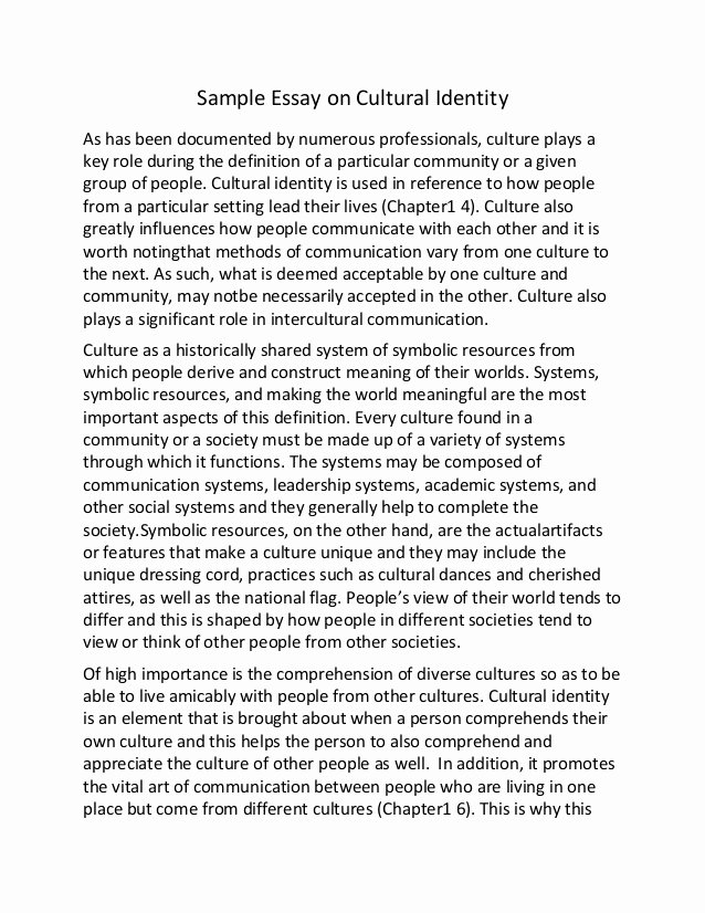 Cultural Autobiography Essay Example Lovely Sample Essay On Cultural Identity