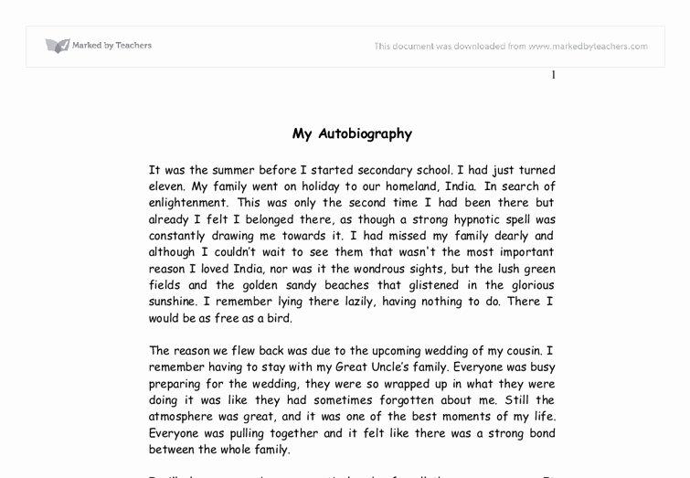 Cultural Autobiography Essay Example Unique Autobiography Essay Examples