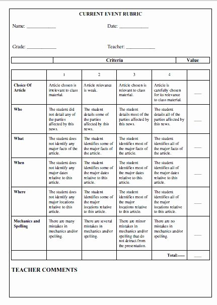 Current event Paper Sample Inspirational Rubric social Stu S Rubric Sample for Current event