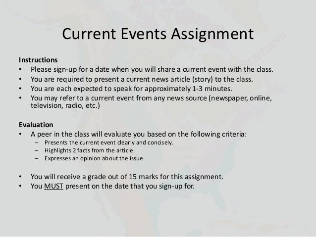 Current events Paper Outline New Current events Presentation assignment 1