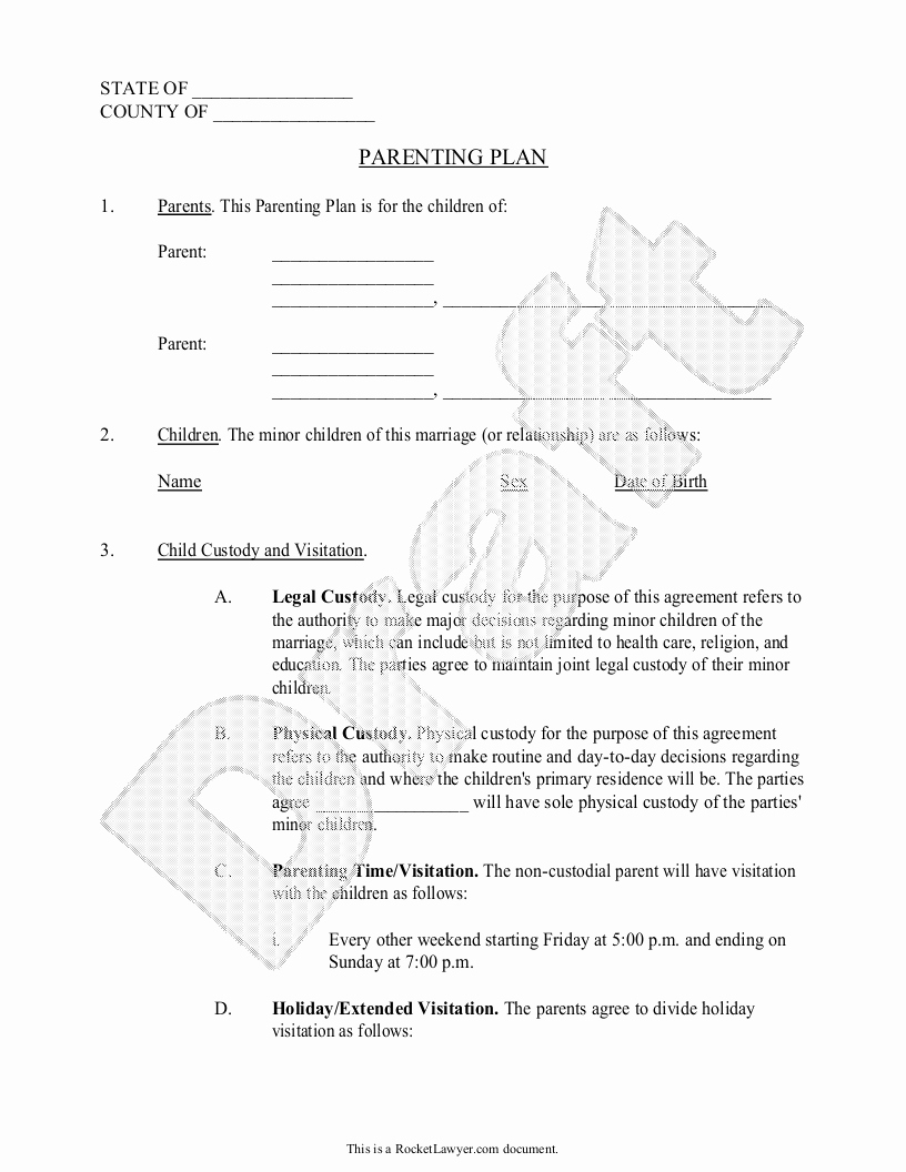 Custody Calendar Template Fresh Parenting Plan Child Custody Agreement Template with