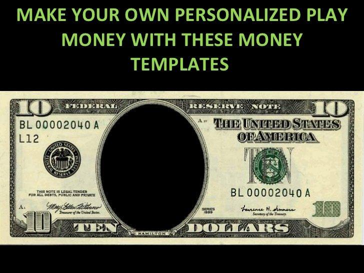 Custom Dollar Bill Template Beautiful Play Money Personalized Templates