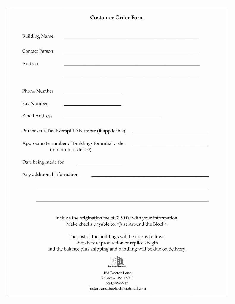 Customer Information Card Template Awesome Customer Information and order form