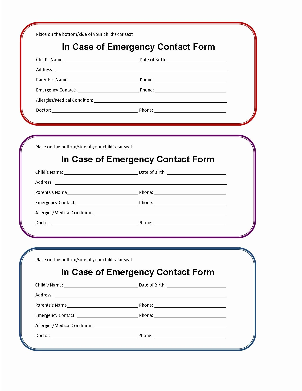 Customer Information Card Template Beautiful Printable Emergency Contact form for Car Seat