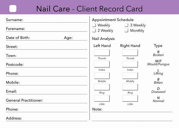 Customer Information Card Template Best Of Nail Care Client Card Treatment Consultation Card