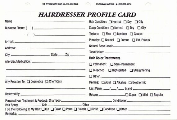 Customer Information Card Template Elegant Items Similar to Hairdresser Client Profile Cards Pack