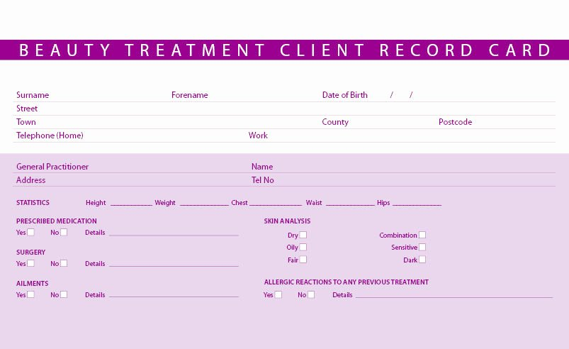 Customer Information Card Template Lovely New Beauty Treatment Consultation Client Record Cards