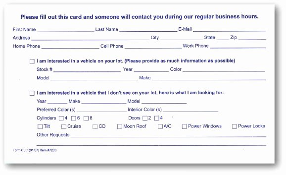 Customer Information Card Template New Customer Lead Cards Package Of 100 Auto Dealer