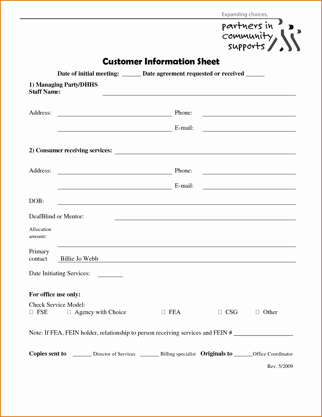 Customer Information Card Template Unique 5 Client Information Sheet