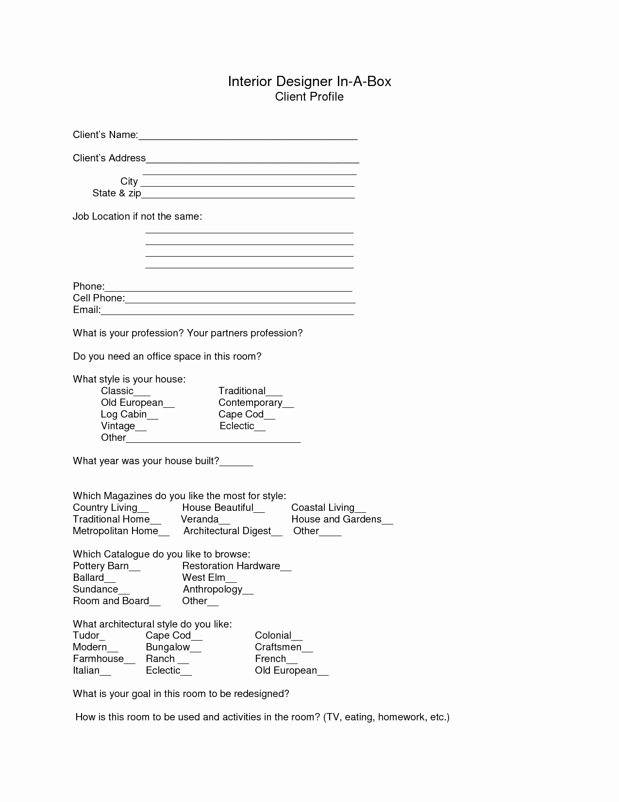 Customer Profile form Awesome Client Profile Template for Interior Design Yahoo Image