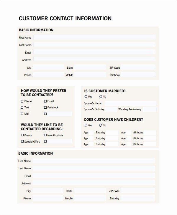 Customer Profile form Unique Customer Profile Template