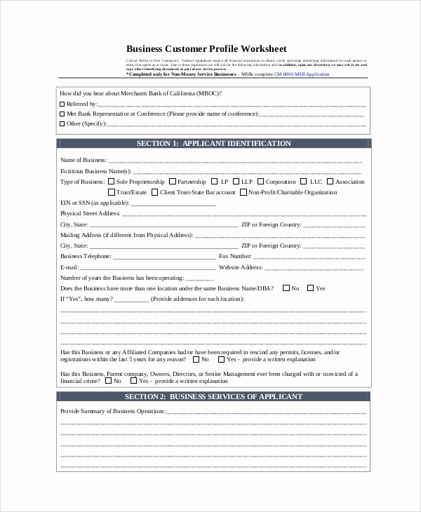 Customer Profile form Unique Sample Customer Profile 8 Examples In Pdf