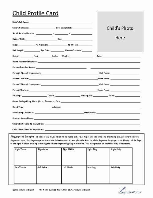Customer Profile Template Excel Beautiful Child Profile Card Daycare