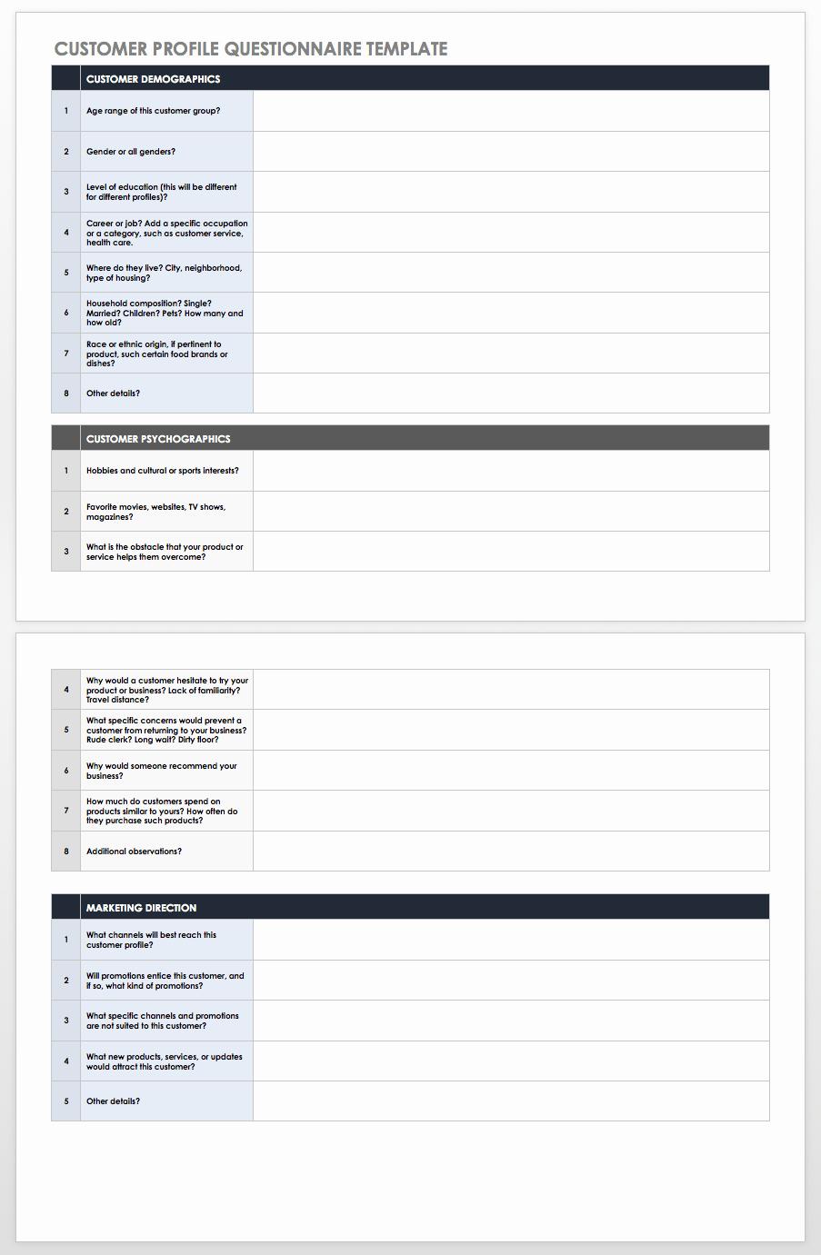 Customer Profile Template Excel Beautiful Free Customer Persona & Profile Templates