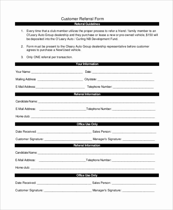 Customer Referral form Best Of Employee Referral form