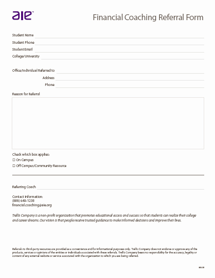 Customer Referral form Fresh Referral form Trellis Pany