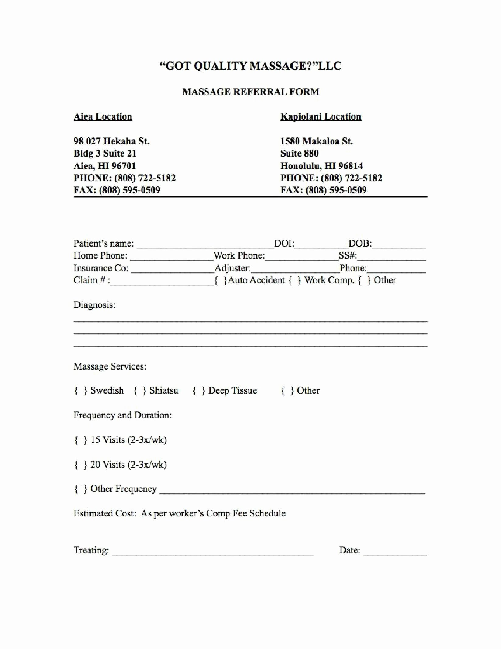 Customer Referral form Inspirational Got Quality Massage Llc