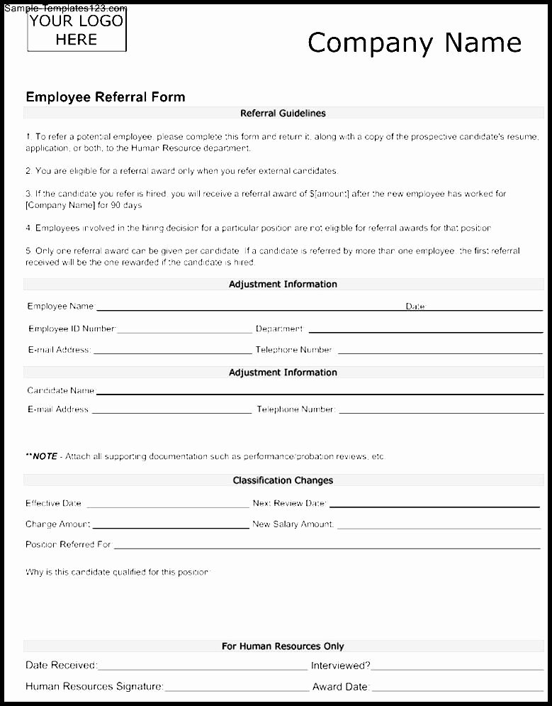 Customer Referral form New Medical Referral form Sample