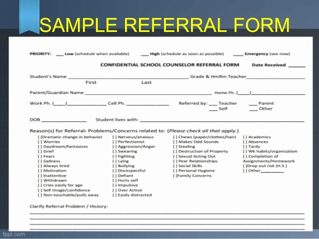 Customer Referral form New Referral and Follow Up Guidance and Counseling