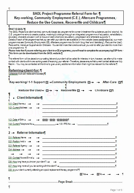 Customer Referral form New Referral form