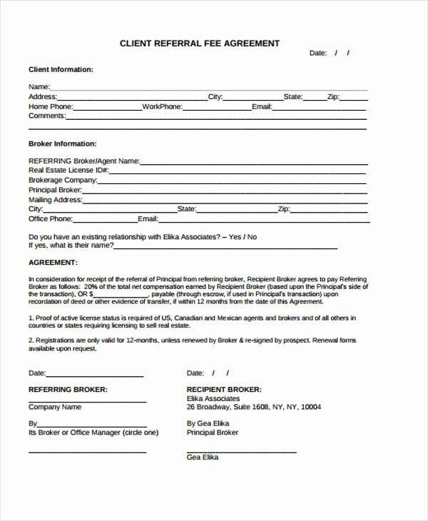 Customer Referral form Unique 34 Printable Agreement Templates Word Pdf Pages