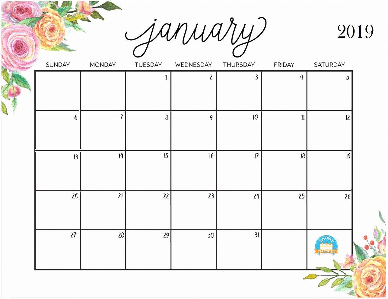 Cute Calendar Template 2019 Awesome January 2019 Calendar Cute Template Blank Printable with