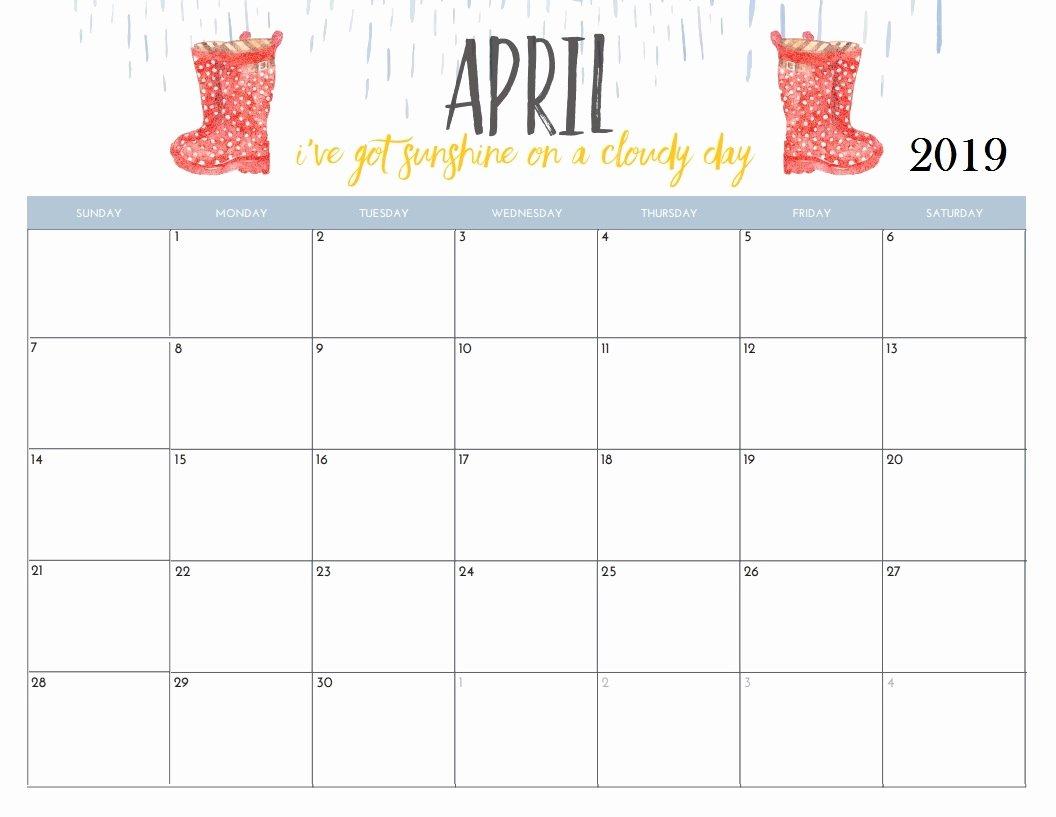 Cute Calendar Template 2019 Beautiful April 2019 Calendar Cute – Printable Year Calendar