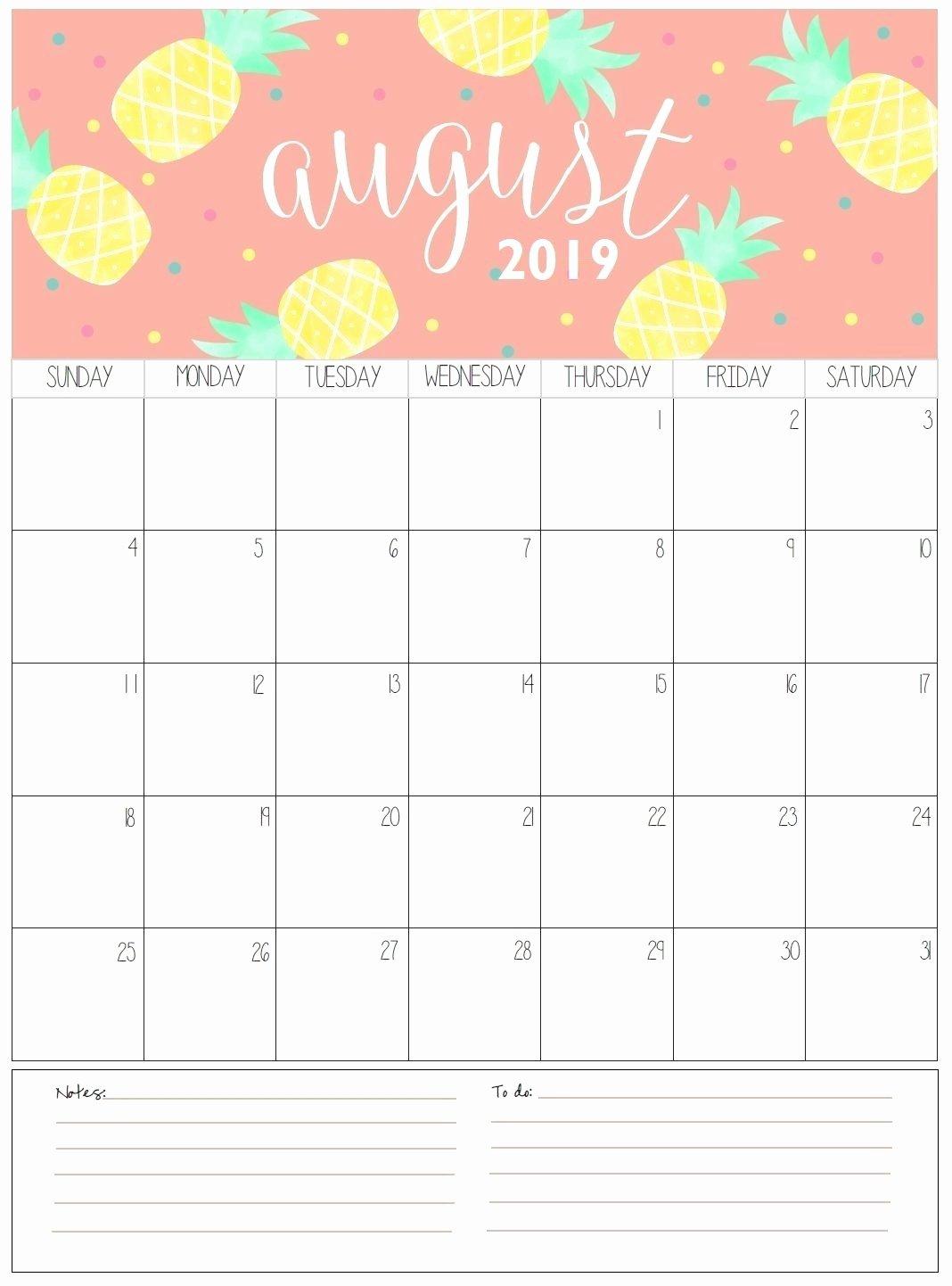 Cute Calendar Template 2019 Beautiful Take August Calendar Printable 2019 Cute ⋆ the Best