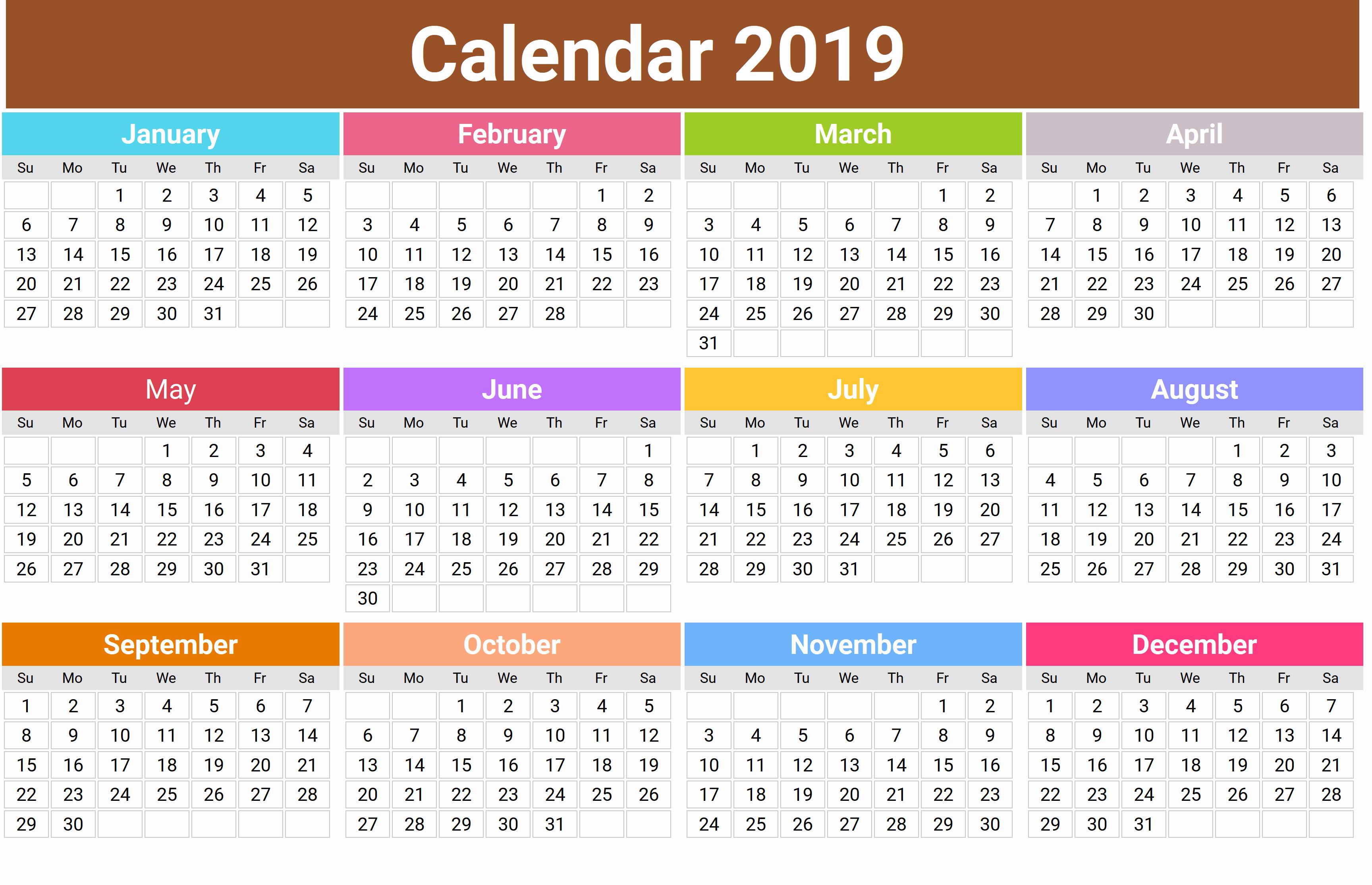 Cute Calendar Template 2019 Best Of Cute 2019 Monthly Calendar