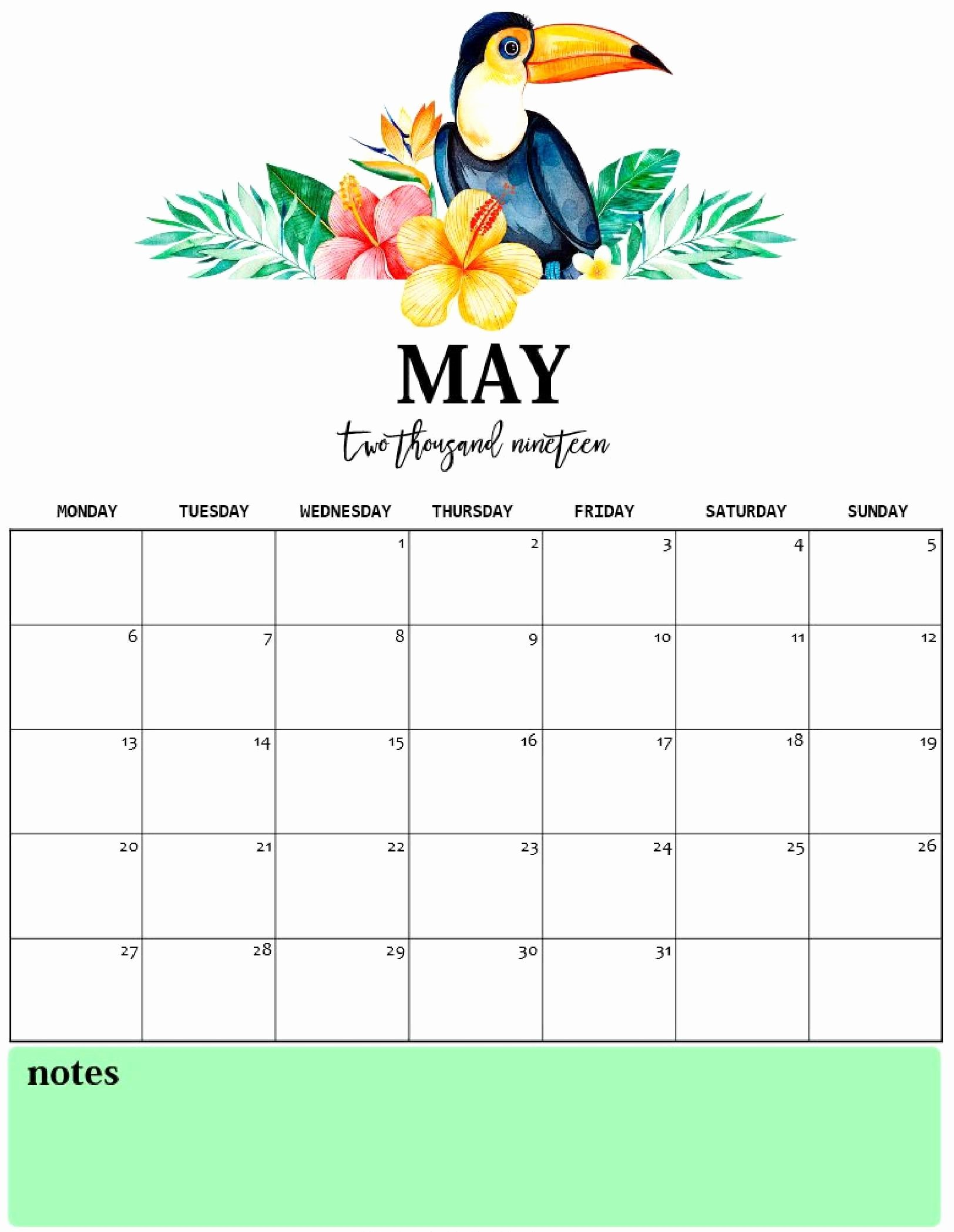 Cute Calendar Template 2019 Best Of Cute May 2019 Calendar Printable for Kids