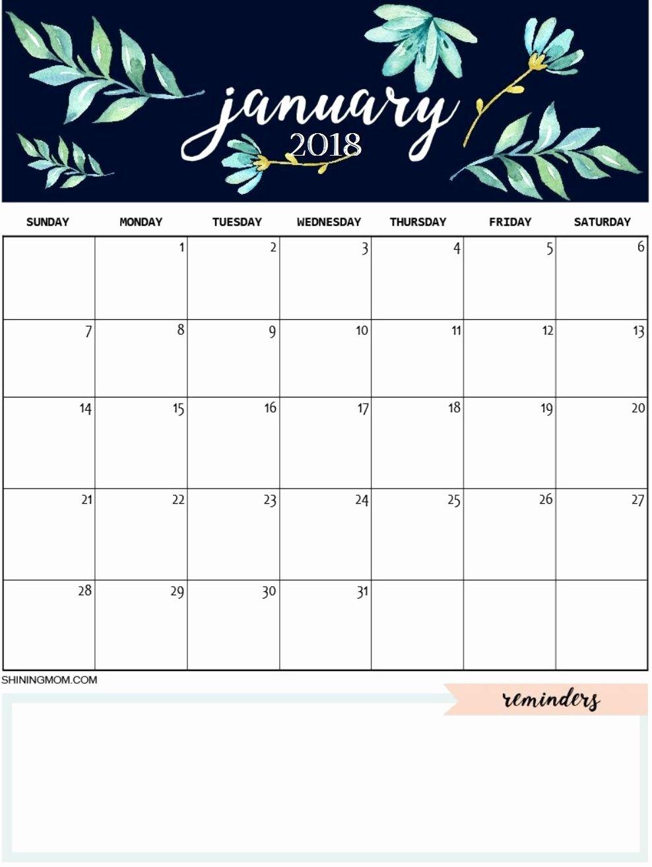 Cute Calendar Template 2019 Best Of January 2018 Cute Calendar Maxcalendars