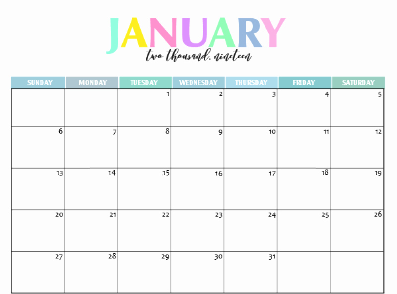 Cute Calendar Template 2019 Best Of Printable January 2019 Calendar Cute 2018 Printable