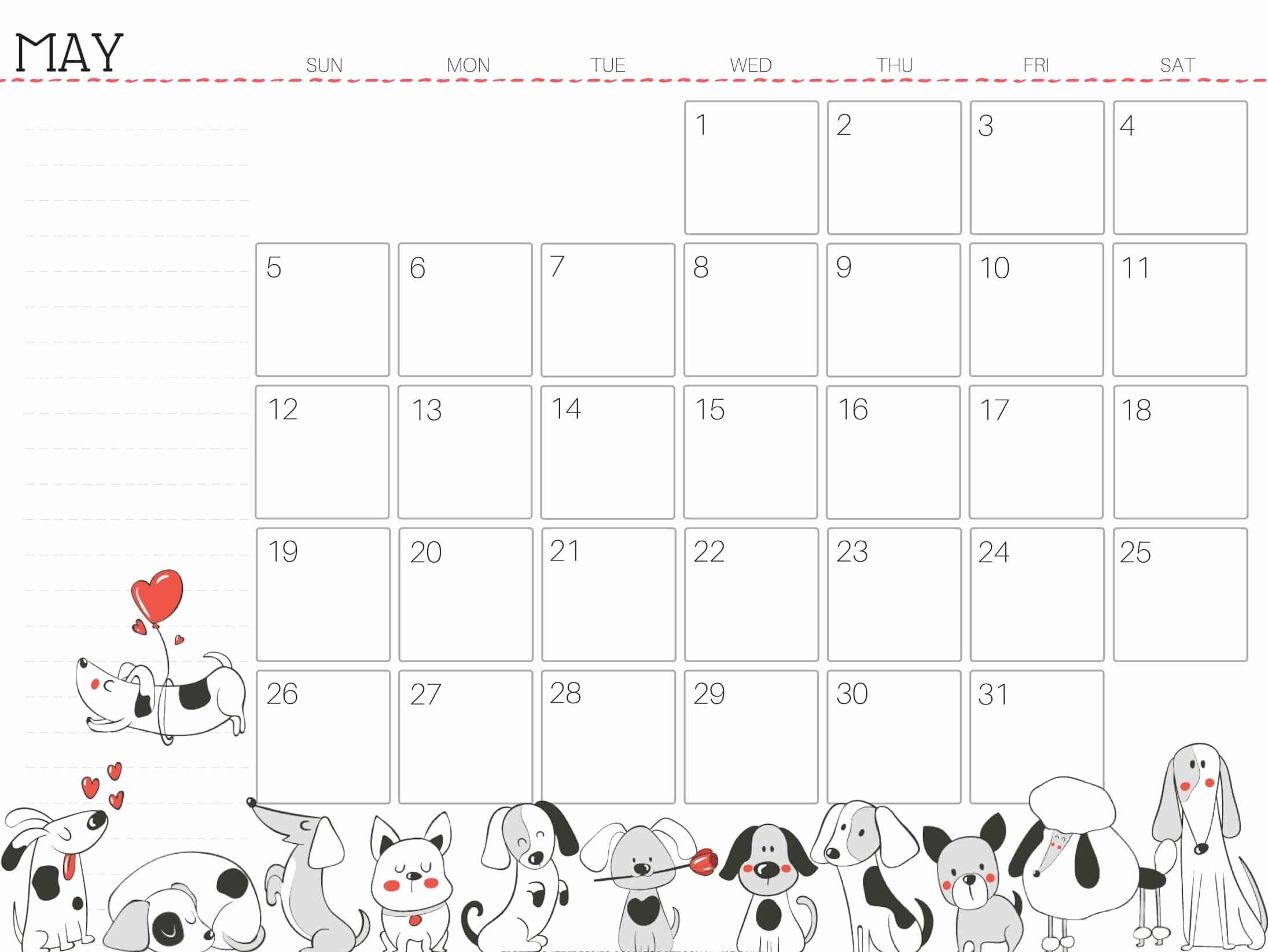 Cute Calendar Template 2019 Elegant Cute May 2019 Calendar Printable for Kids