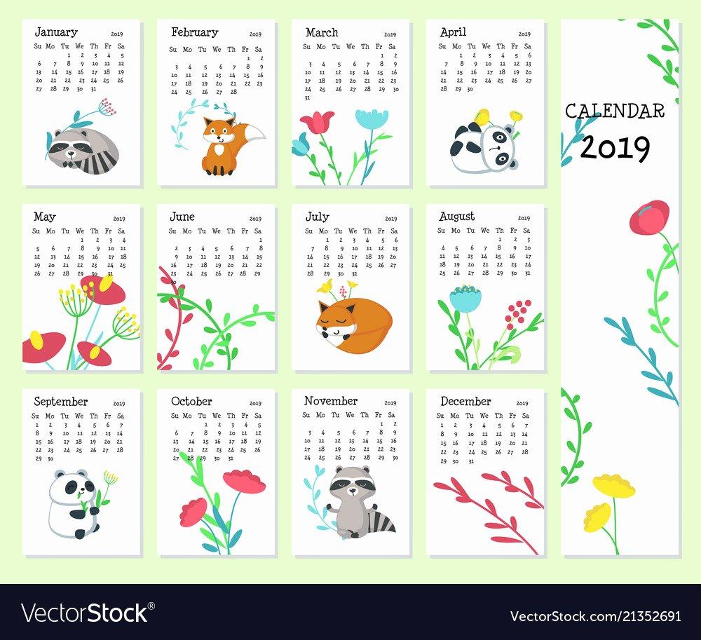 Cute Calendar Template 2019 New Calendar 2019 Template with Cute Animals Vector Image