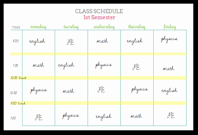 Cute Class Schedule Maker New Student Planners Class Schedules and Reference Sheets